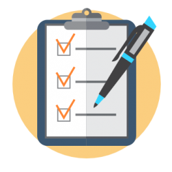 icon of clipboard with pen and checklist with all items checkmarked